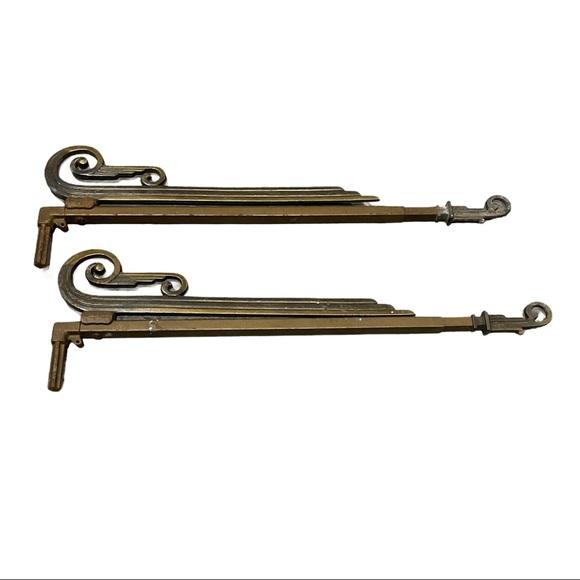 Antique Swing Arm Brass Curtain Rods Art Nouveau